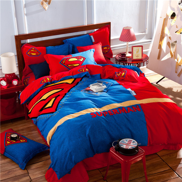 Superman red blue kids bedding set king queen size doona for Juego de cuarto queen size
