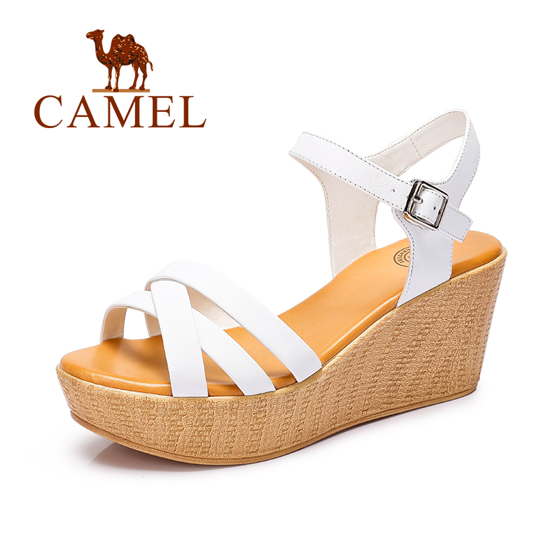 Camel women wedges sandals high heel sandals fashion 2016 cow leather buckle strap pump A62153631 2016 summer fashion crystal mid heel wedges buckle women sandals new camel women shoes comfortable stylish rhinestone sandals