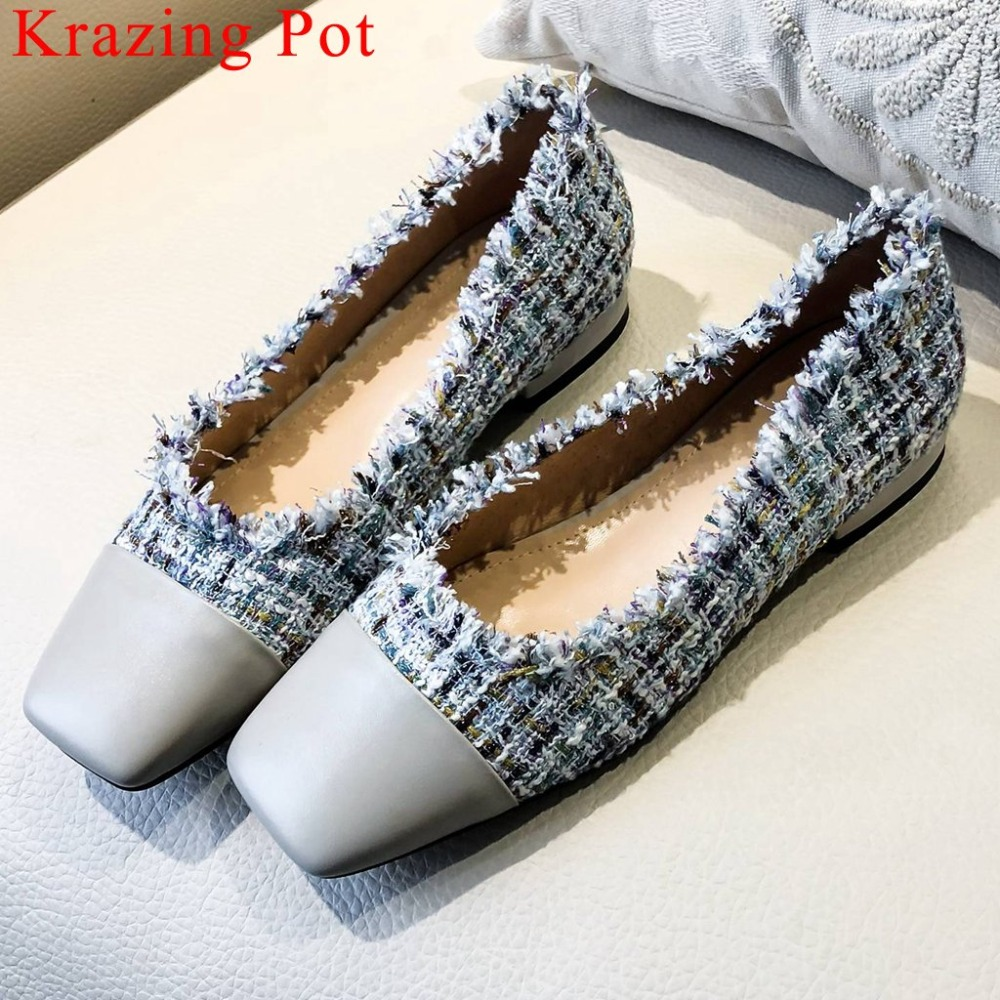 Krazing Pot elegant lady concise genuine leather patchwork low heels slip on loafer square toe movie