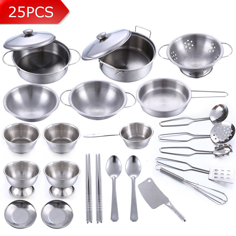25Pcs Stainless Steel Children Kitchen Toys Miniature