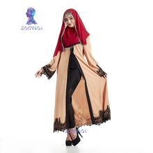Zakiyyah New Elegant Lace Muslim Abaya Clothes Turkish Jilbab Dubai Maxi Dress Muslims Women Dress islamic clothing