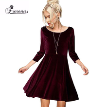 2017 Women Summer Dresses Cute Loose Solid Three Quarter Sleeve Velvet Above Knee Mini Women 6 Colours  Party Dresses