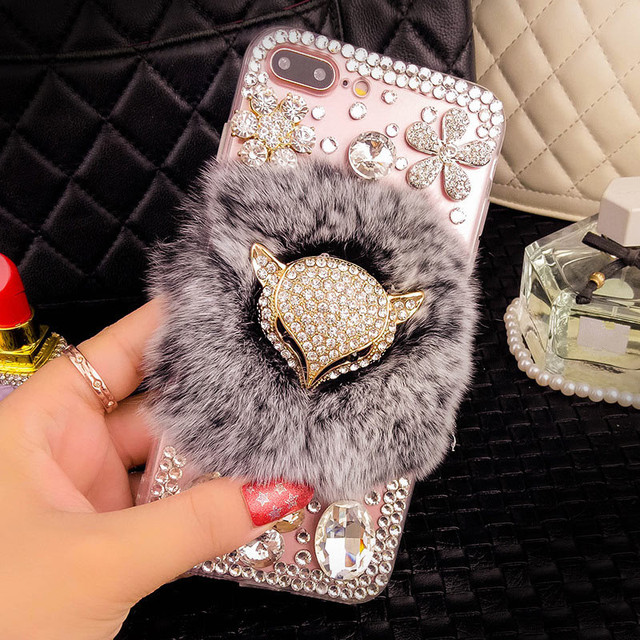 coque iphone 6 plus strass diamant fourrure