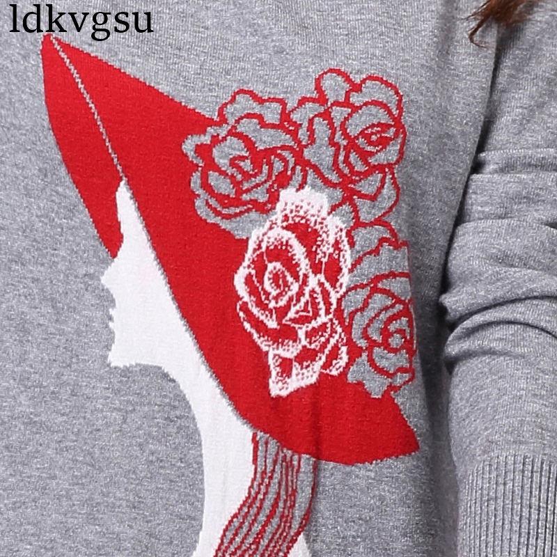 2018 nouvelle grande taille 4XL automne hiver longue Section pull femmes pull Slim tricoté pull coréen impression robe V111 - 6