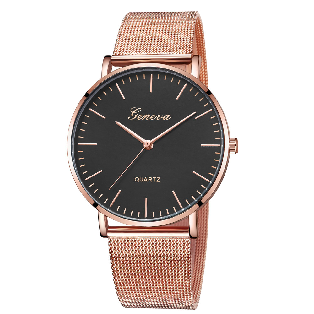 Fashion Rose Gold GENEVA Watches Best Sale Stainless Steel Watchband High Quality Casual Wristwatch Gift  For dropshipping OC Переносные часы