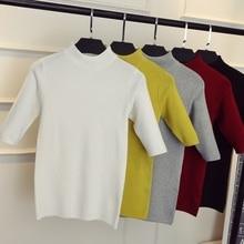 2019 new spring Korean half sleeve shirt collar solid elastic thin sweater five Sleeve Sweater Girl недорого