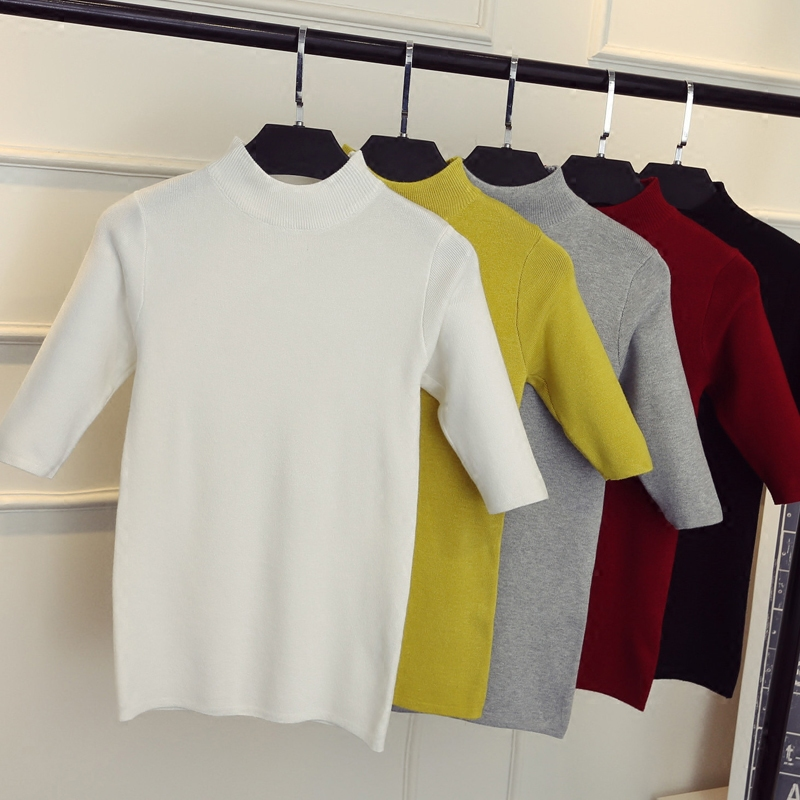 2019 new spring Korean half sleeve shirt collar solid elastic thin sweater five Sleeve Sweater Girl