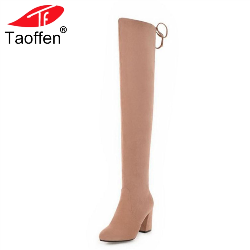 TAOFFEN Size 33-48 Woman Over Knee Botas Warm Fur Women Shoes Round Toe Long Boots Fashion High Heel Botas Winter Shoes women round toe platform over knee boots sexy woman thin high heel shoes fashion cross strap heels long botas size 34 47