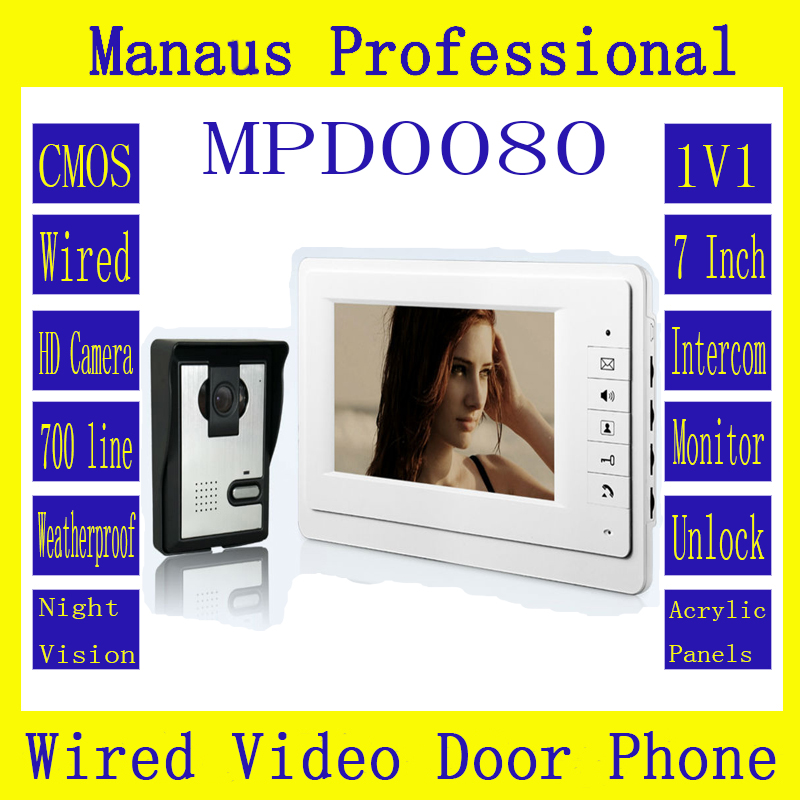 Smart Wired Color 7 TFT LCD Display Video Door Phone Doorbell Intercom System With High Definition IR Night Vision Camera D80a 7 inch color tft lcd wired video door phone home doorbell intercom camera system with 1 camera 1 monitor support night vision