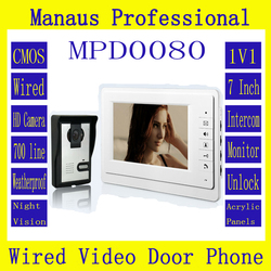 Smart Wired Color 7 TFT LCD Display Video Door Phone Doorbell Intercom System With High Definition IR Night Vision Camera D80a