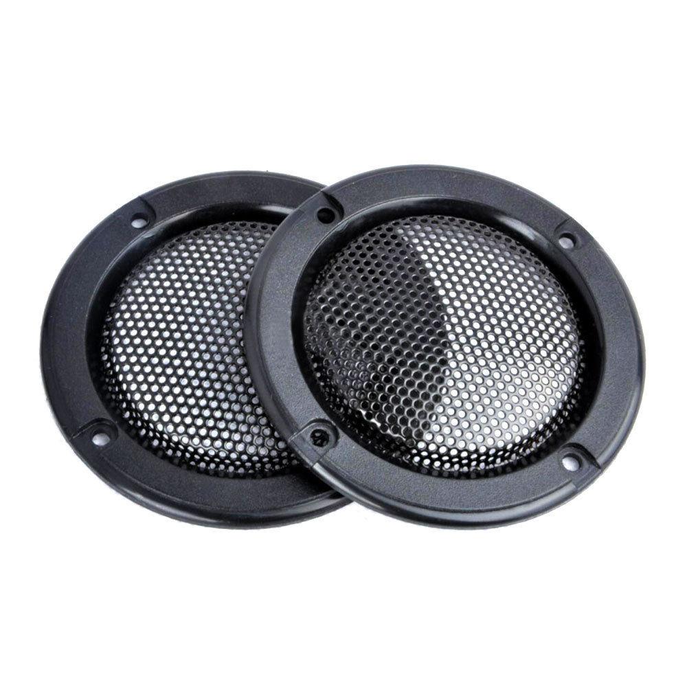 "2 Pcs 2/"" inch Black Audio Speaker Cover Decorative Circle Metal Mesh Grille MA"
