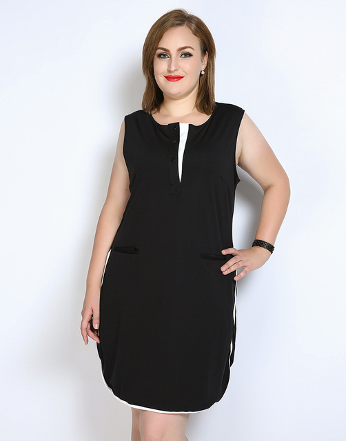 Cute Ann Womens Sexy Sleeveless Plus Size Party Dress Contrast