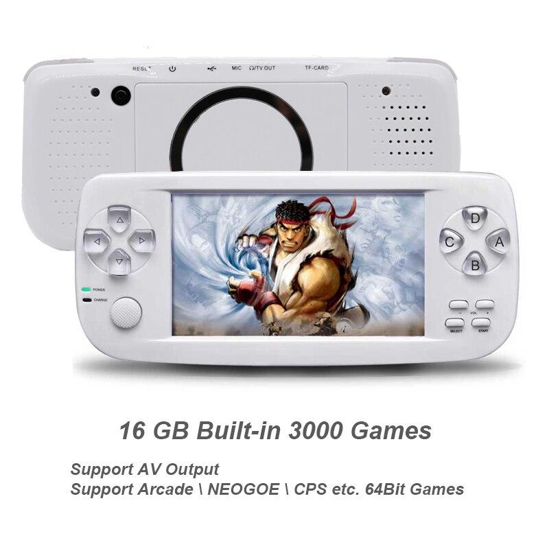 Nuevo 64 Bit 4,3 pulgadas incorporada de 3000 juegos PAP K3 para CP1/CP2/GBA/FC/NEO /GEO formato juegos HD portátil de mano consola de Video juegos