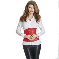 Sexy Women Waist Trainer Underbust Corset Classic Buckle Faux Leather Corset Gothic Stripe Corset Plus Size