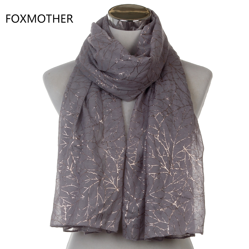 Free Shipping  New Fashionable Ladies Shiny Pink Grey Navy Bronzing Gold Tree Branches Scarf Shawl For Womens
