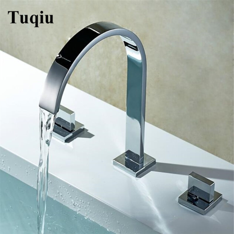 Chrome Square brass bathroom sink faucet widespread 8 inch 3 holes deck Mounted basin Mixer water mixer chrome square