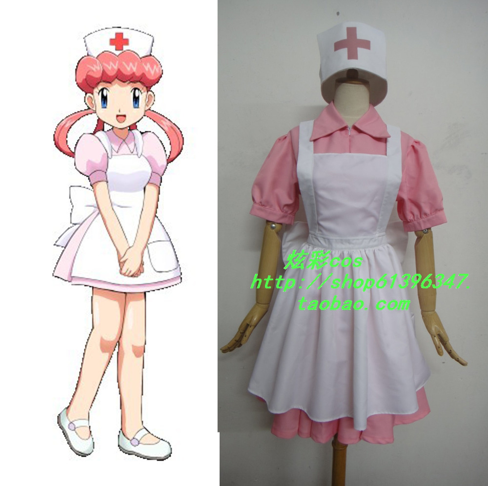 Pokemon Pocket Monsters Perawat Joy Cosplay Costume Dress + apron + - Kostum - Foto 1