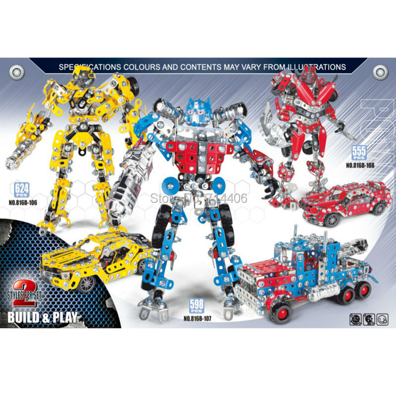 Children's assembled building block toys iron commander,Bumblebee  Dinosaur robot,metal model build play toys transformers маска bumblebee c1331