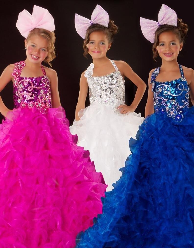 Новинка года; красивые платья с цветочным узором для девочек бальное платье с лямкой на шее; бусины Кристаллы с открытой спиной; праздничное платье из органзы на заказ для девочек