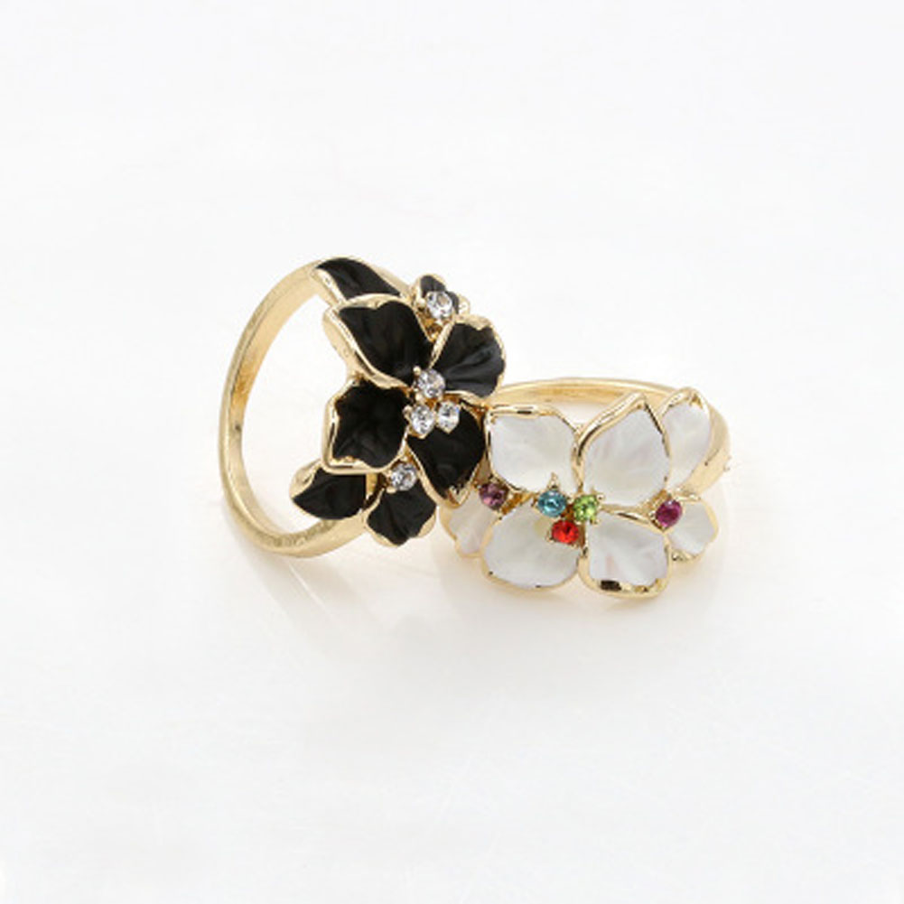 White Black Colors Gardenia Flower Ring Clear Fancy Colorful