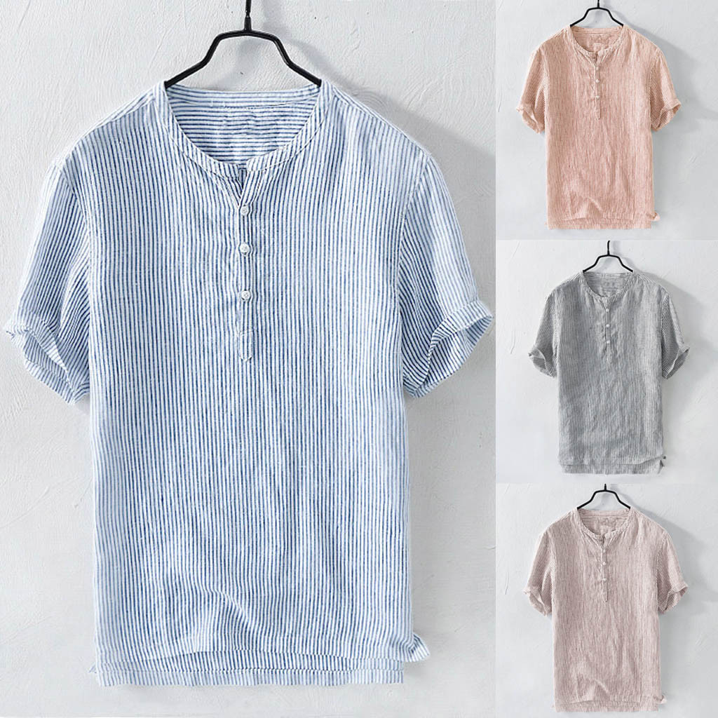 2019 Summer Men's Cool Thin Breathable Stripe Button Cotton Shirt Short Sleeve M-3XL Hawaiian Shirt Camisa Masculina Streetwear