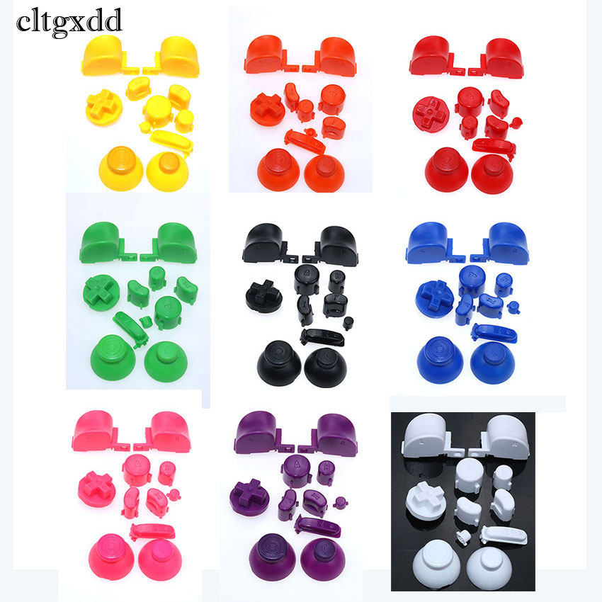 Cltgxdd 10Sets,19 Colors For Gamecube Controller Mod Colorful Complete Button Set With 3D Thumbsticks Caps For NGC Solid Color
