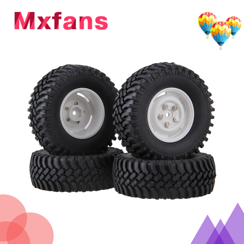 Mxfans 4xRC1:10 Rock Crawler Black 100mm OD Rubber Tyre+ 4-holes Plastic Wheel Rim mxfans 4pcs rc 1 10 rock crawler car black plastic wheel rim
