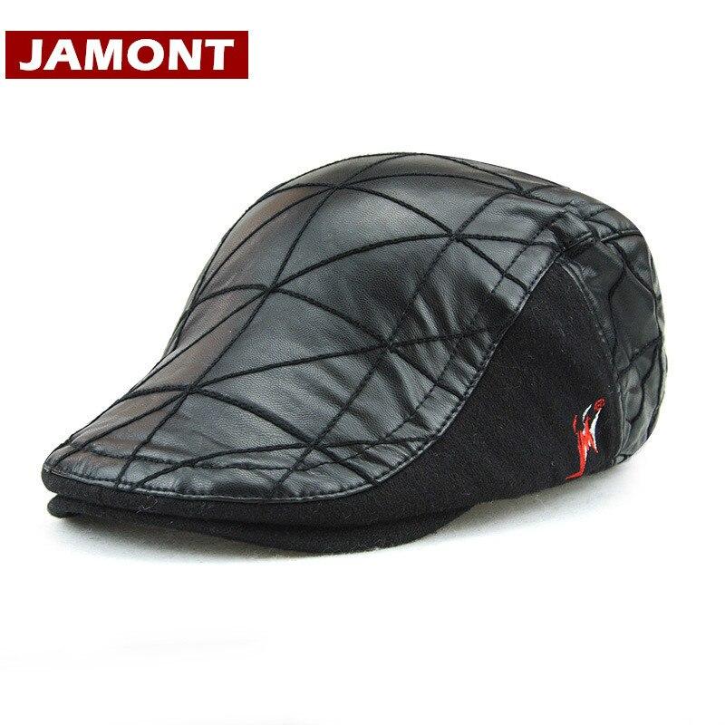 JAMONT Unisex PU Leather Beret Cap Plus Velvet Hat Protect Warm Casquette with Autumn Winter
