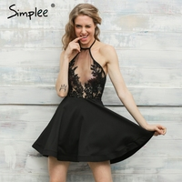 Simplee Halter White Lace Mesh Sexy Dress Women Black Backless Beach Summer Dress Vestidos Elegant Evening