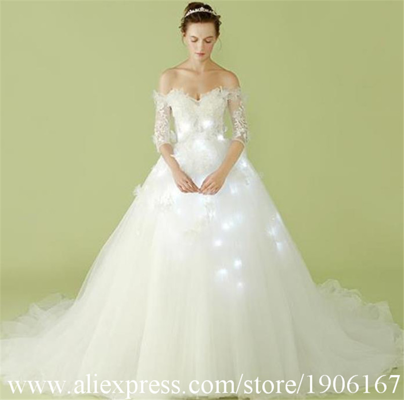 Fashion Led Luminous Wedding Dress Led Ballet Evening Dress Party Clothes Light Up Led New Year Suit Ballroom Costume Outfit
