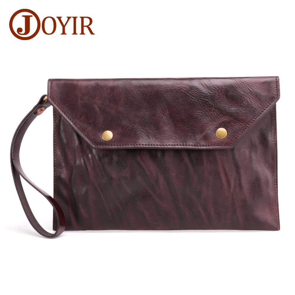 JOYIR High Capacity Fashion Mens Original Retro Leather Clutch Wallet Cow Genuine Vintage Man Bags Men Handbag