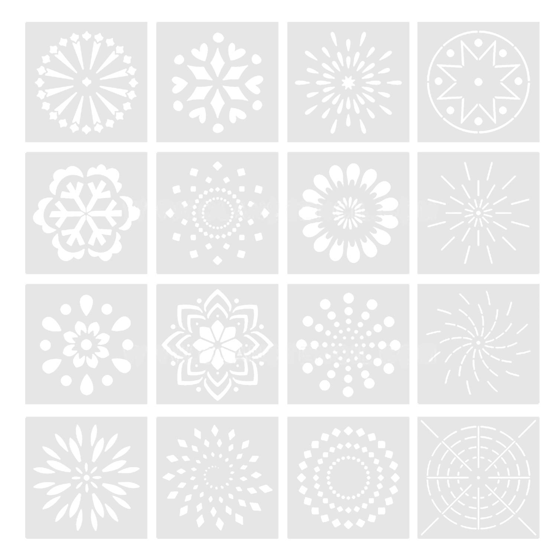 16pcs Reusable Mandala Dotting Tools Tiles Templates Stencil Set for DIY Painting Drawing Drafting Art Craft Projects