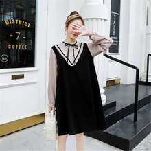 New Loose Splicing two fake pregnant womens Autumn new Korean loose fashion striped Dress Fat sister dress