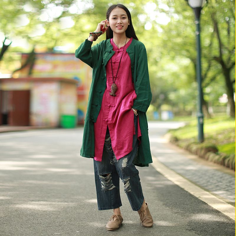 LZJN Long Sleeve Blouse Casual Ladies Shirt Cotton Linen Summer Cardigan Chinese Clothing for Womens Tops and Blouses 1024