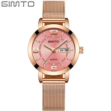 2019 GIMTO Luxury Brand Women Bracelet Watch Simple Casual Rose Gold Mesh Band Ladies Dress Wrist Watch Clock relogio feminino