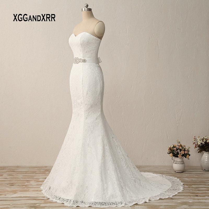 Mermaid Lace Wedding Dress 2019 Lace Up Back Bridal Gown with Beading Rhinestone Belt Cheap Boho