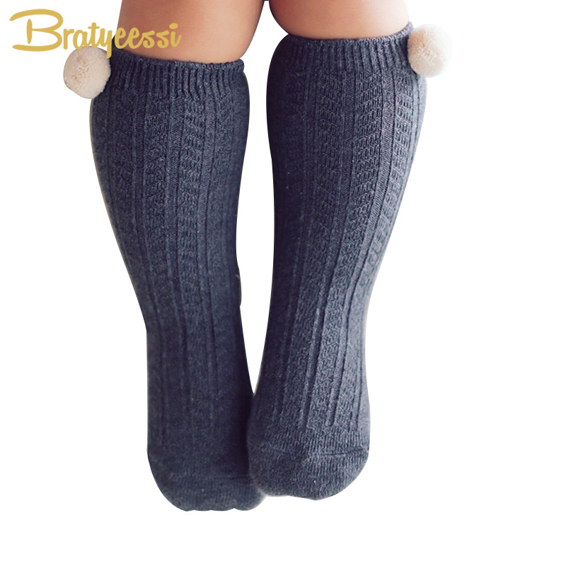 new-cotton-baby-socks-with-pompom-knit-knee-high-newborn-socks-for-girls-boys-1-pair