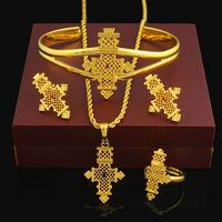 Хит, комплекты ювелирных украшений из Эфиопии, 24 K, золотой цвет, Coptic комплект с крестиками, кенийский/нигерийский/суданский/эритрейский/хаб...
