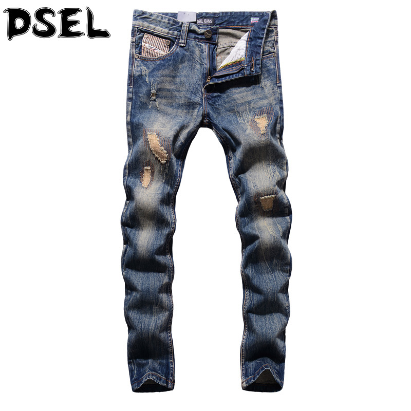 DSEL Brand Mens Jeans High Quality Denim Frayed Patch Pants Ripped Jeans Men Retro Vintage Design Cotton Casual Jeans Trousers streetwear mens patch jeans slim fit denim jeans ripped pants high quality recommend new famous brand jeans men trousers 7044