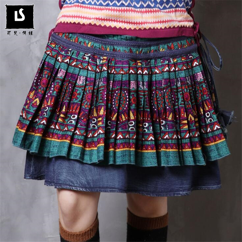 New Fashion Vintage Spring Summer skirts womens casual National wind print Women Sexy Short Skirt Mini