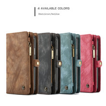 Caseme Multifunction 2 in 1 Genuine Leather Flip Wallet Case for iPhoneX Xr Xs Max Phone Leather Cover For iPhone8 7 6s 6 Plus