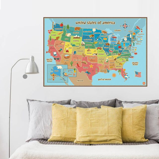 Online Shop USA English Map Wall Stickers United States of America ...