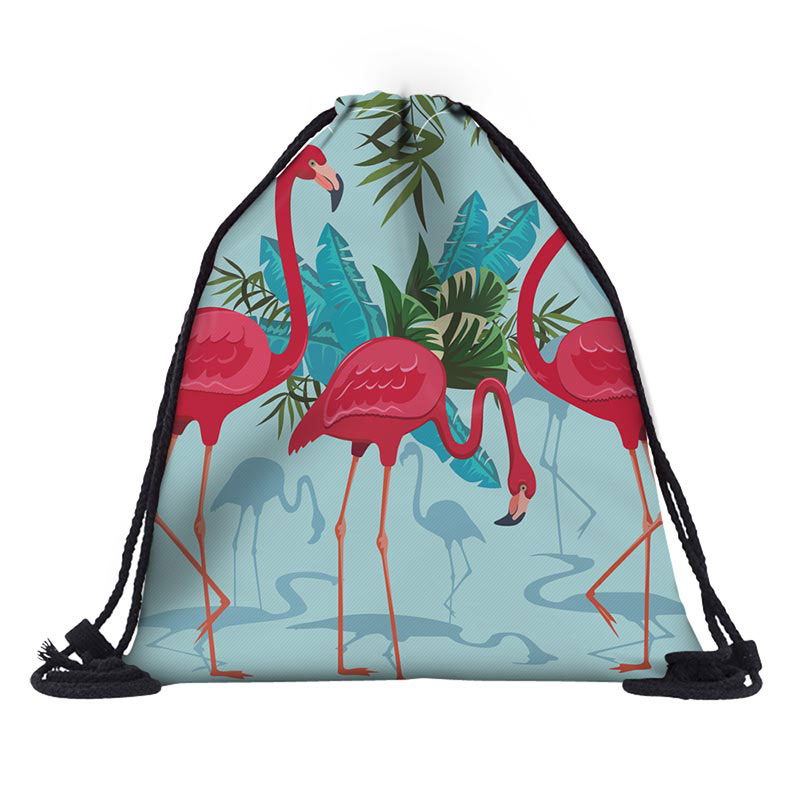 Multifunction Color With Flamingo Drawstring Bag String Sack Bag Beach Girls Women Travel Storage Package Teenagers Backpack