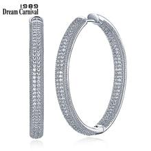 DreamCarnival 1989 Rhodium Color Zirconia Luxury Elegant Classic Hoop Earrings for Women Thin Easy Push In Pin Locks SE23882-WR