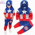 2016 Nova Chegada Das Meninas Dos Meninos Roupas Terno pentagrama carta estrela Capitão América jaqueta Com Zíper + calças 2 pçs/set Crianças Definir das crianças
