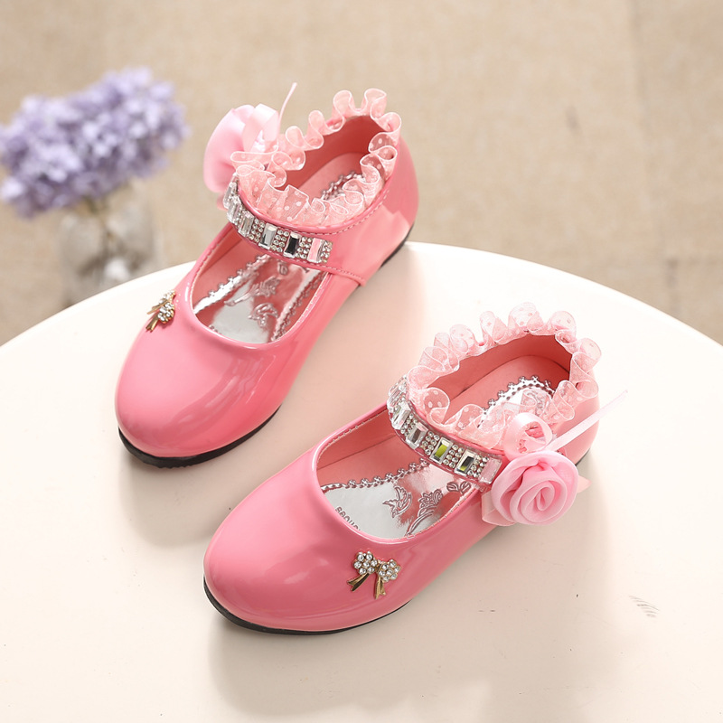 Flower Girls Shoes Spring Autumn Princess Lace PU Leather Shoes Cute Bowknot For 3-11 Ages Toddler Shoes