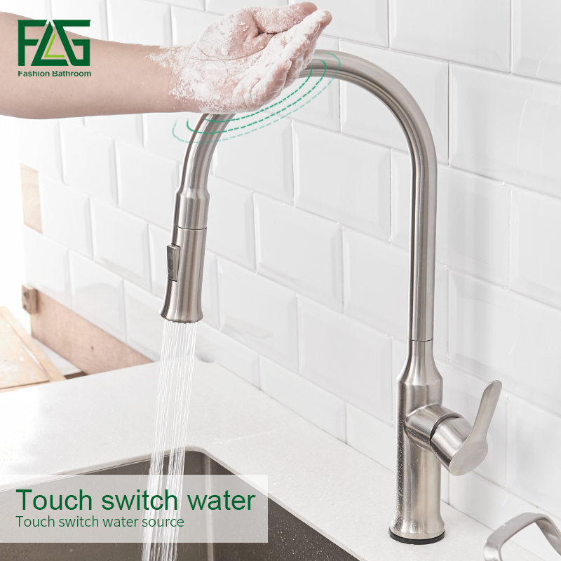 FLG Smart Touch Kitchen Faucets Touch Inductive Faucet Stainless Steel Single Handle Dual Outlet Water Modes