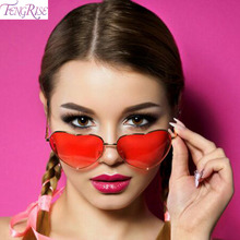 FENGRISE Heart Shaped Sunglasses Plastic Glasses Women Men Blue Eyewear Hawaiian Party Decorations Famale Ladies New
