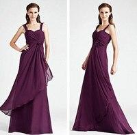 Elegant Chiffon Long Purple Junior Bridemaid Dresses Sweetheart Spaghetti Straps Sleeveless Evening Prom Gowns 2016 Custom