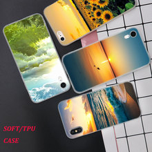 Silicone Case Sun set and riase Printing for iPhone XS XR Max X 8 7 6 6S Plus 5 5S SE Phone Matte Cover